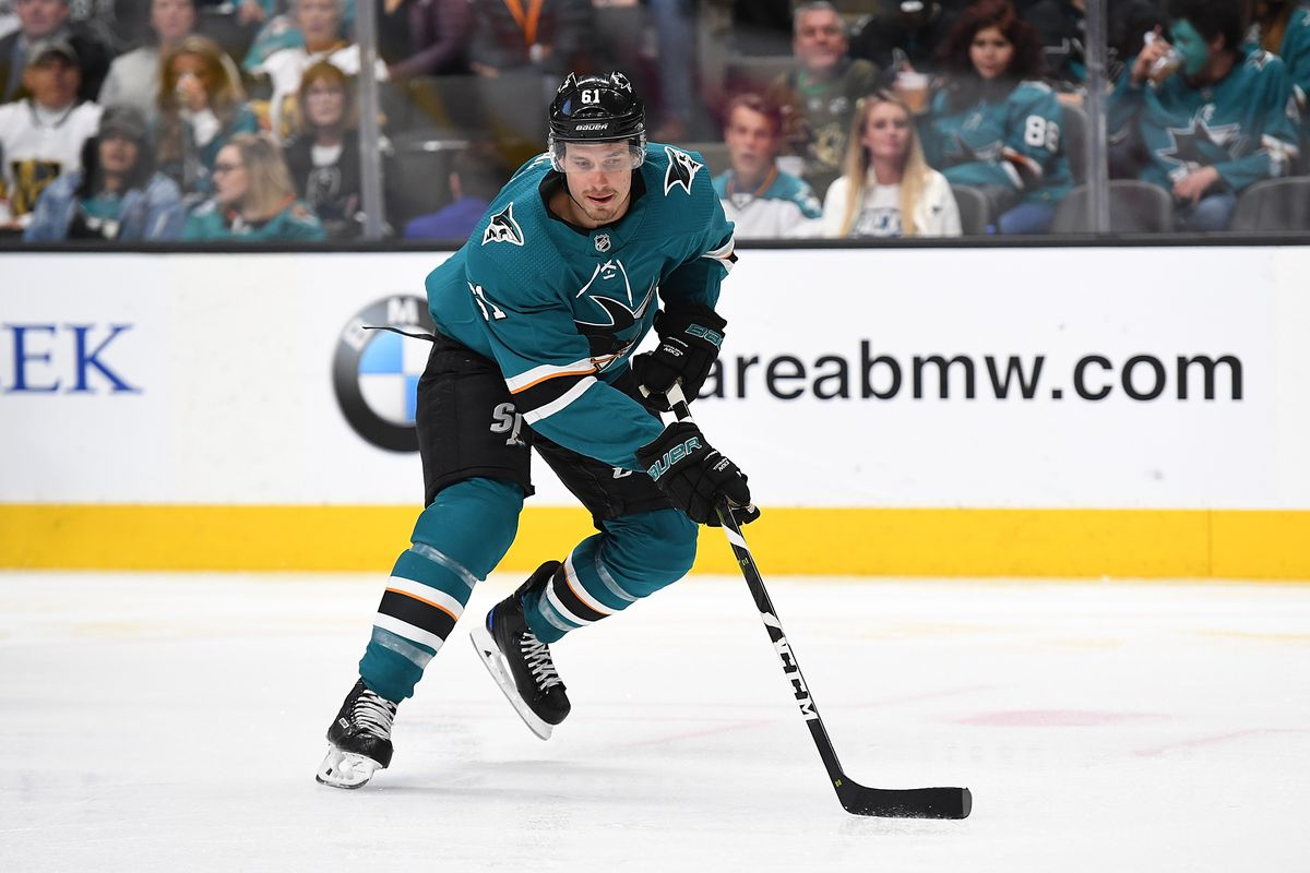 Justin Braun of the San Jose Sharks skates with control of the puck against the Vegas Golden Knights during the second period in Game Two of the Western Conference First Round during the 2019 NHL Stanley Cup Playoffs at SAP Center on April 12, 2019 in San