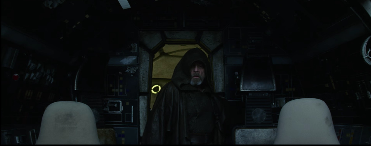 Luke Skywalker in the Millennium Falcon with the lights off