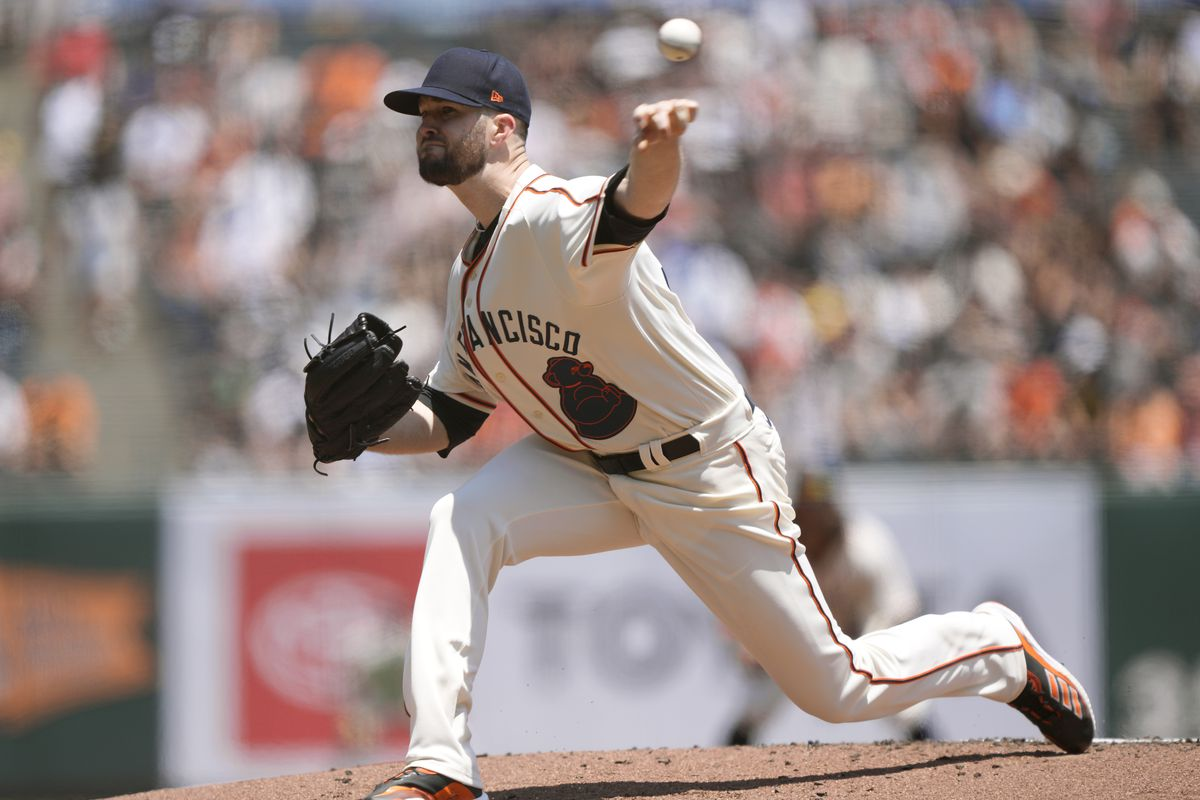 Alex Wood #57 of the San Francisco Giants pitches against the Philadelphia Phillies in the top of the first inning at Oracle Park on June 19, 2021 in San Francisco, California.
