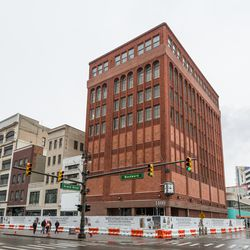 The future Shinola Hotel, directly across from the Hudson's site.