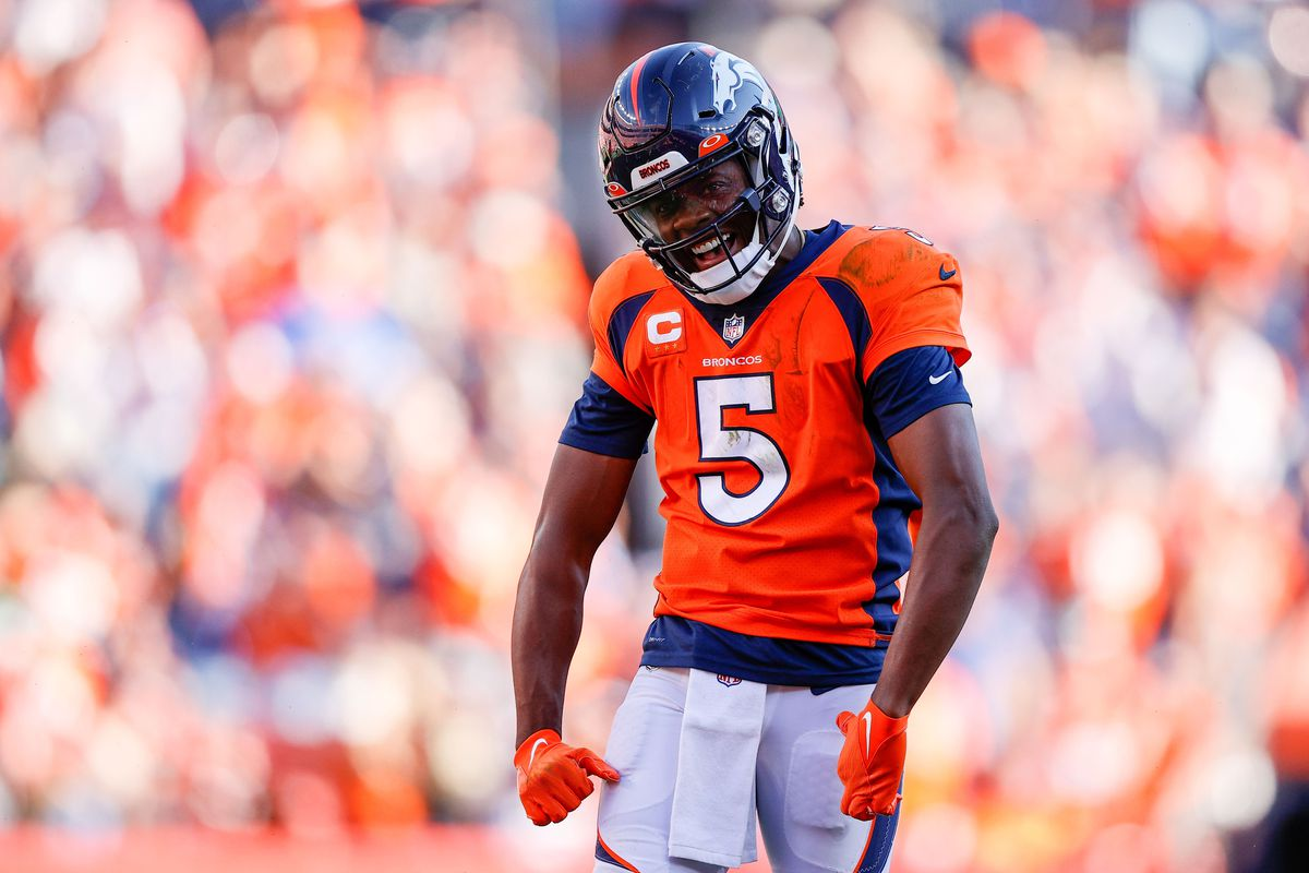 Denver Broncos quarterback Teddy Bridgewater reacts after a play in the fourth quarter against the New York Jets at Empower Field at Mile High.