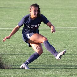 UConn's Jackie Harnett #41during the New Hampshire Wildcats vs the UConn Huskies exhibition women's college soccer game at Morrone Stadium at Rizza Performance Center in Storrs, CT, on Saturday August 14, 2021.