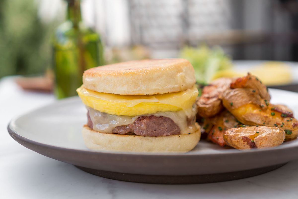 Sausage, egg and cheese sandwich at NoMad Bar