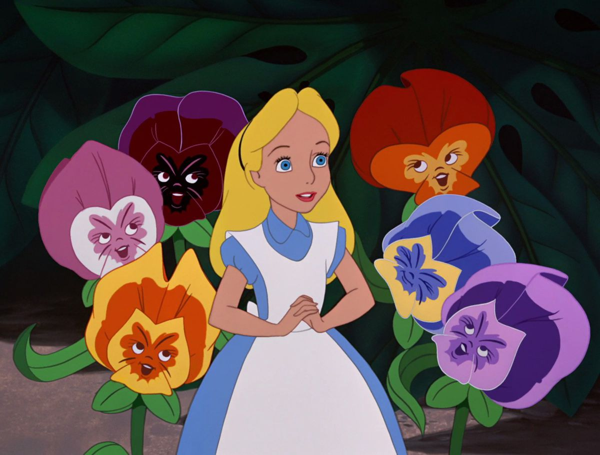 Celebrity Fitness: alice surrounded by some giant talking flowers, trippy man