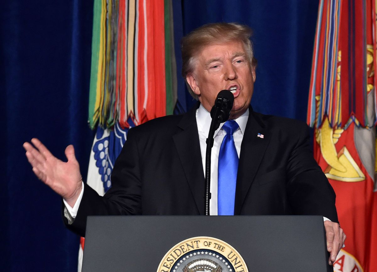 Trump speaks at a podium during his Afghanistan war address.