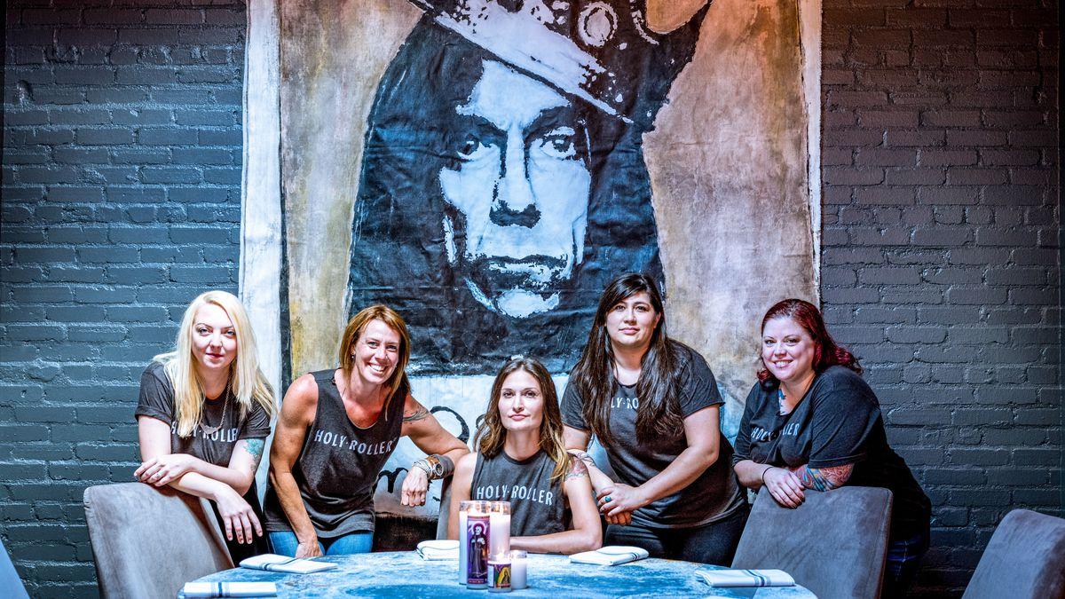 The ladies of Holy Roller: Nicole Cruz, Sarah Bevil, Callie Speer, Britt Castro, and Jen Keyser