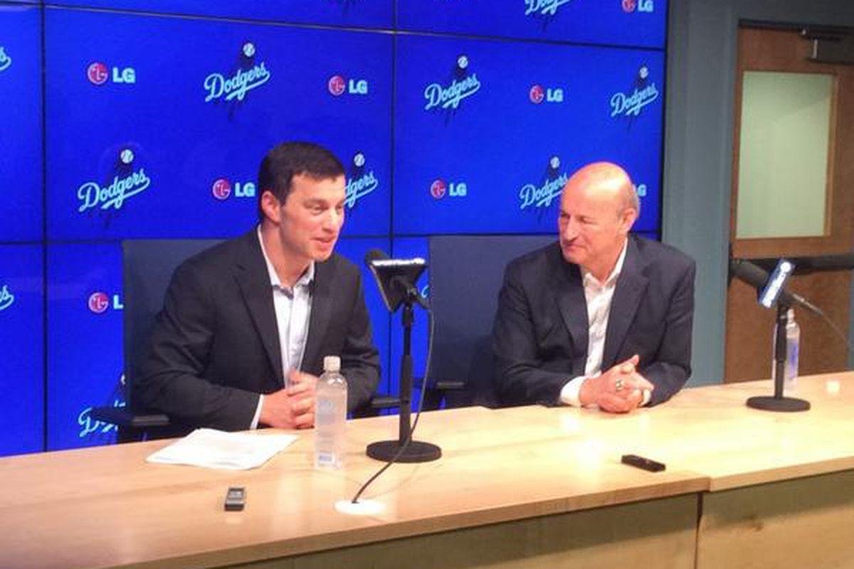 Andrew Friedman and Stan Kasten meet the media on Friday at Dodger Stadium.