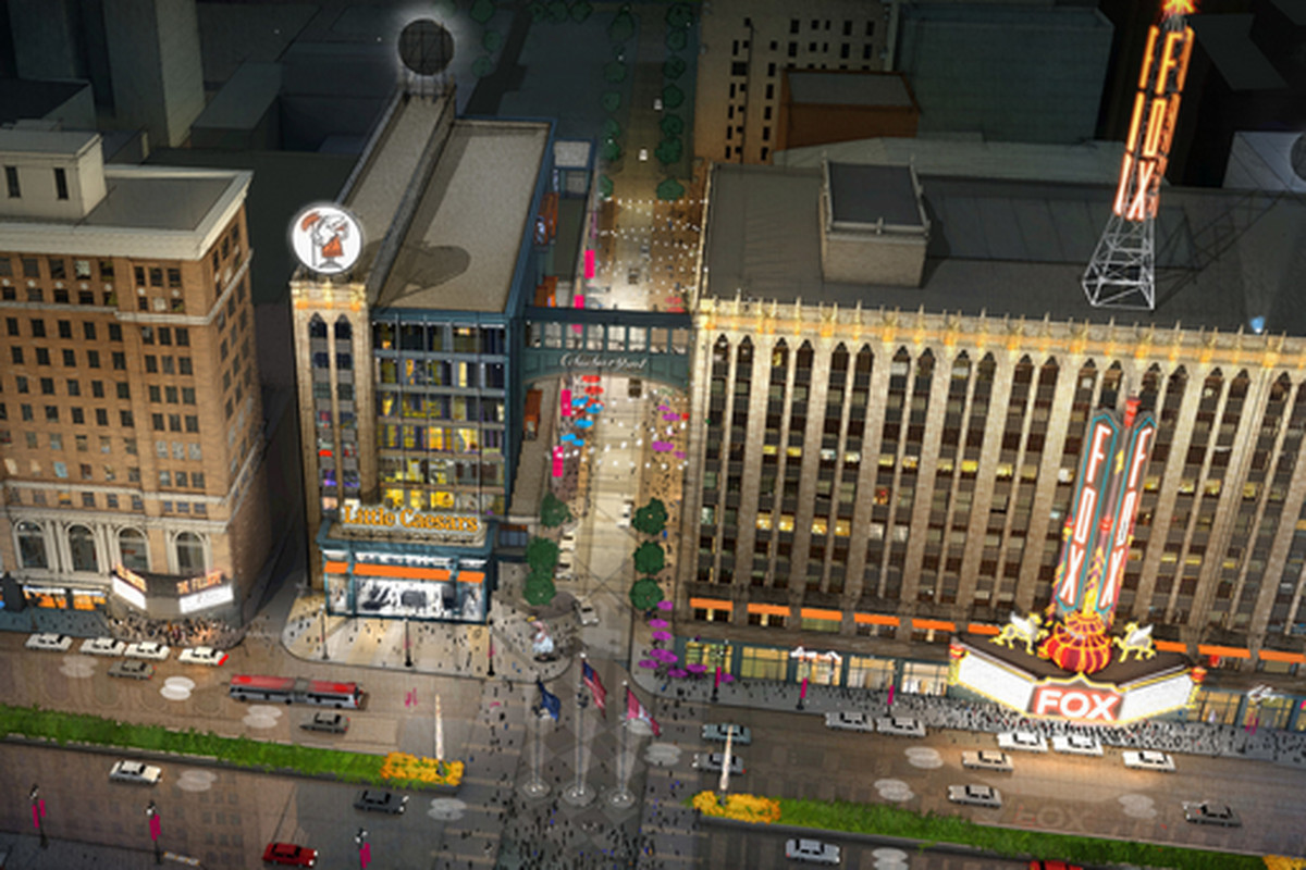 A conceptual rendering of Little Caesars World Headquarters Campus in The District Detroit