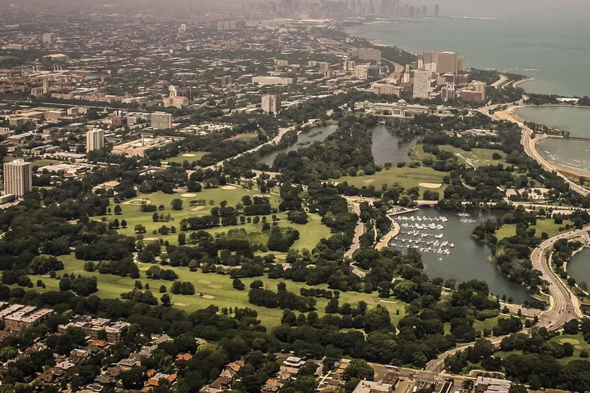 c1f02a9fb73 Aerial view of Jackson Park, chosen site of the Obama Presidential Center.  Some have pushed for a written agreement to ensure the community benefits  from ...