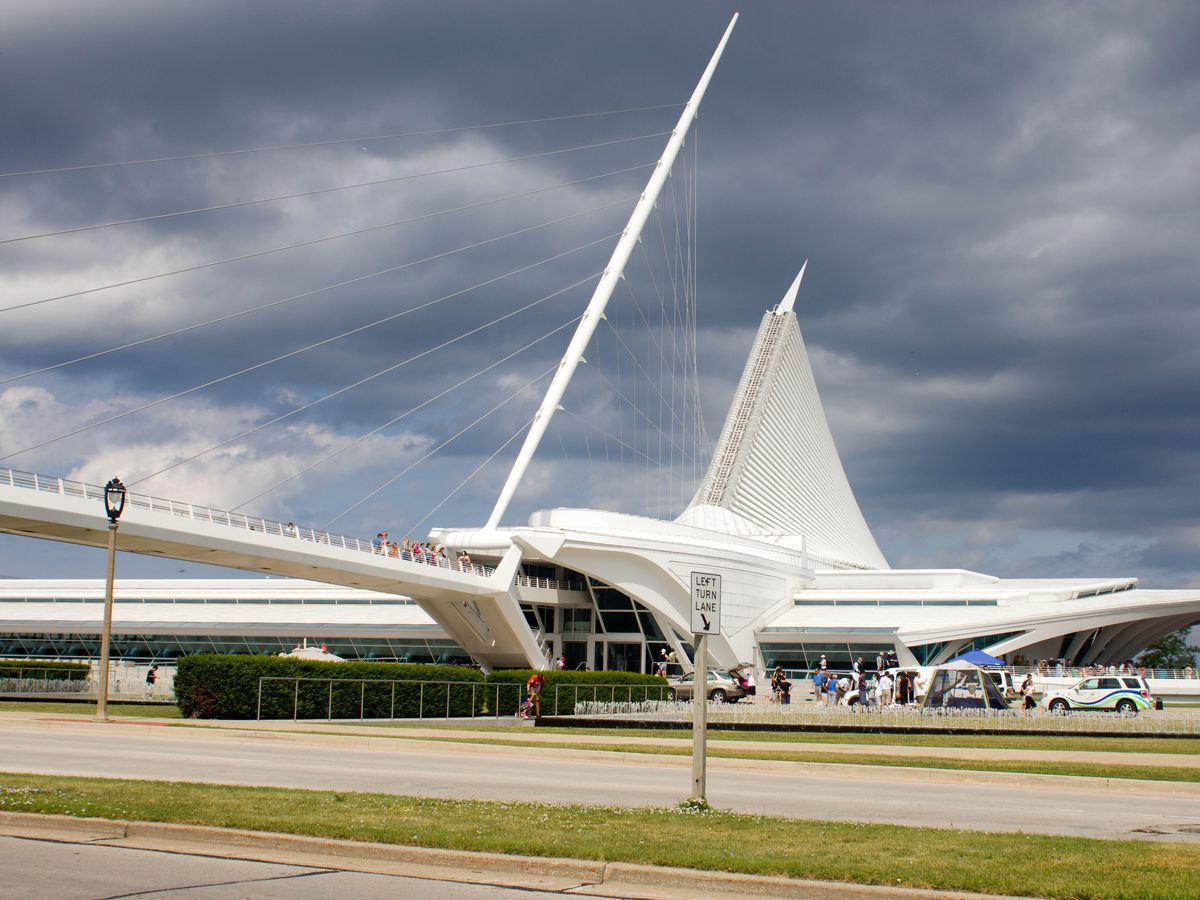 The exterior of the Milwaukee Art Museum. The facade is white and angular.