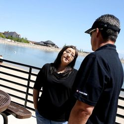 """Lucinda Campbell speaks to Troy Tait, of Med One, during a Utah Department of Transportation and Sleep Smart Drive Smart media briefing at Blackridge Reservoir in Herriman on Wednesday, June 14, 2017. Campbell's son, Tyler Blias, and his friend both died almost seven years ago after Blias' friend fell asleep while driving home from a summer trip to the Grand Canyon. Tait is also a spokesperson for """"Sleep Smart. Drive Smart."""""""