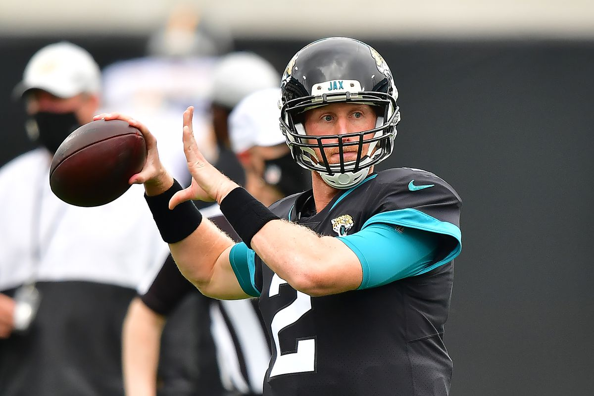 Mike Glennon #2 of the Jacksonville Jaguars looks to pass during warmups before the game against the Pittsburgh Steelers at TIAA Bank Field on November 22, 2020 in Jacksonville, Florida.