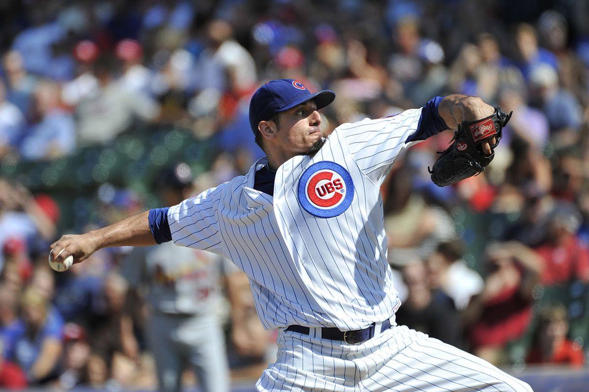 Starting pitcher Matt Garza of the Chicago Cubs delivers during the first inning against the St. Louis Cardinals at Wrigley Field in Chicago, Illinois.  (Photo by Brian Kersey/Getty Images)