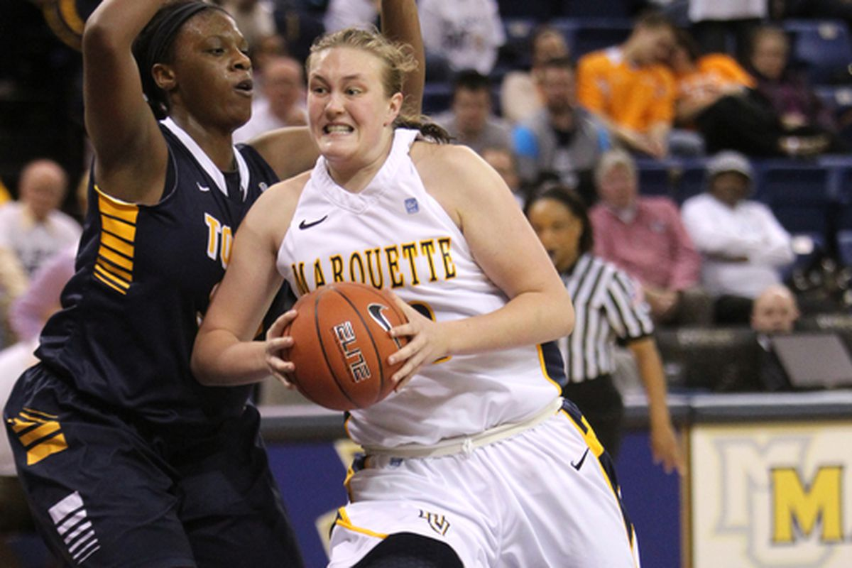 Lauren Tibbs had a big bucket late in MU's game against Navy yesterday.