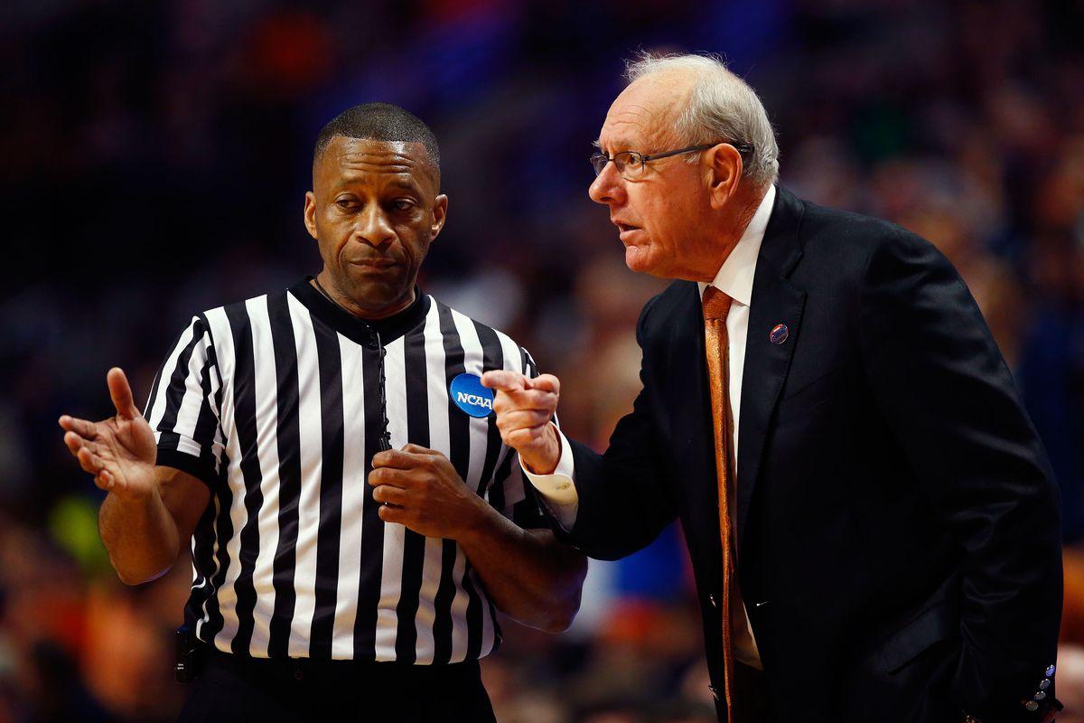 Syracuse Orange head coach Jim Boeheim argues a call with an official