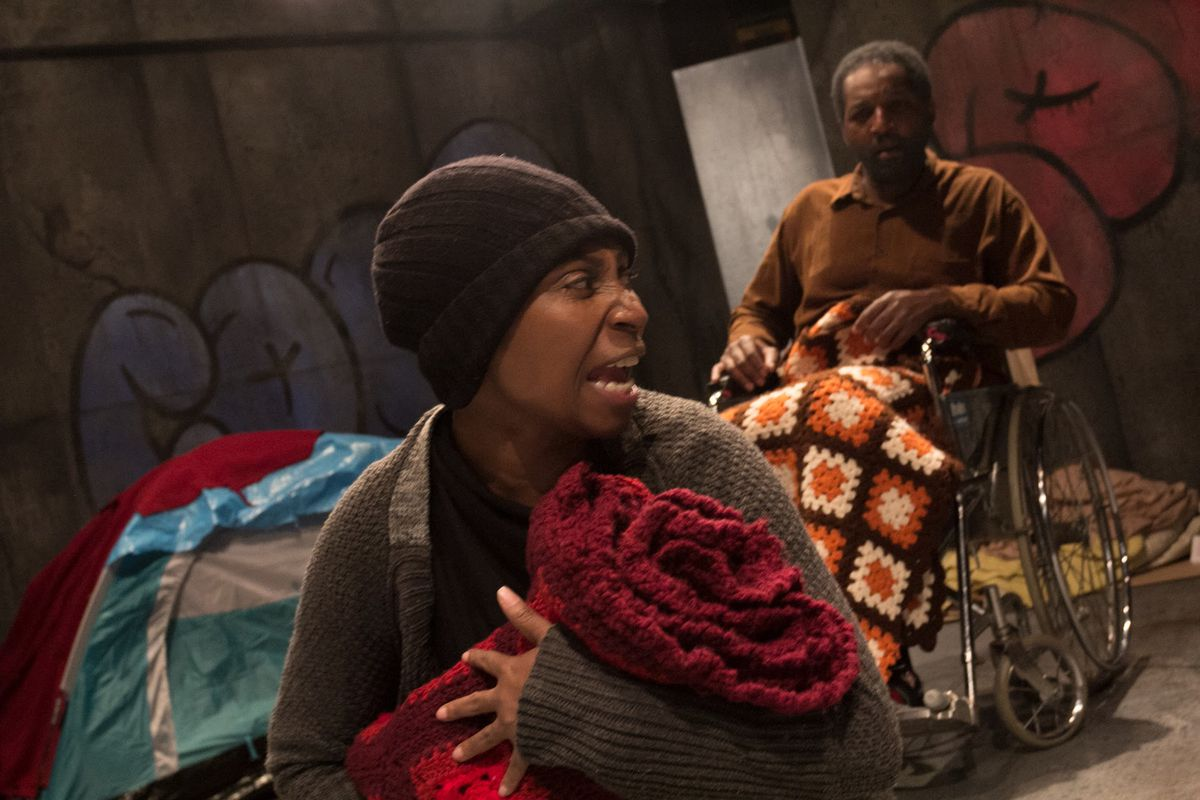 """Velma Austin plays Freda and Lyle Miller plays Preacher Man in Javon Johnson's play """"Hobo King,"""" in its world premiere production by Congo Square Theatre. (Photo: Sam Roberson)"""