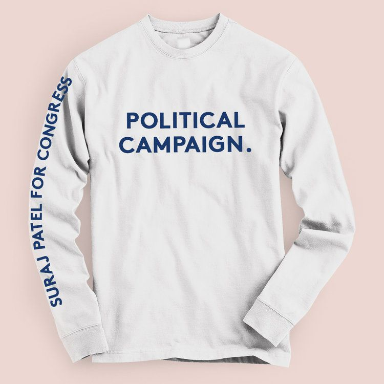 "A white long sleeved tee that just says ""Political campaign"" on the front in navy type."