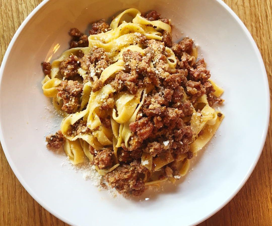 A fresh bowl of bolognese pasta