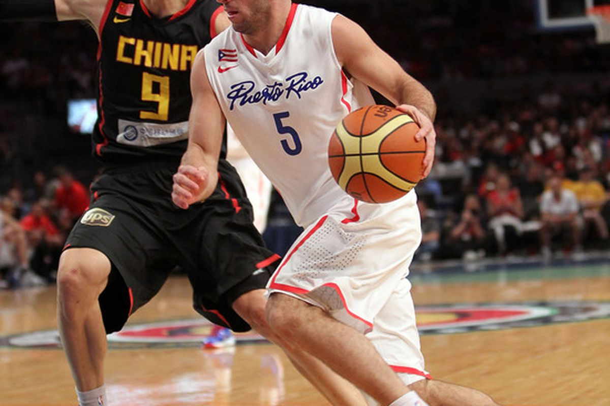 Jose Juan Barea (Mavericks) will be trying to lead Puerto Rico past Greece in today's game of the day. (Photo by Nick Laham/Getty Images)