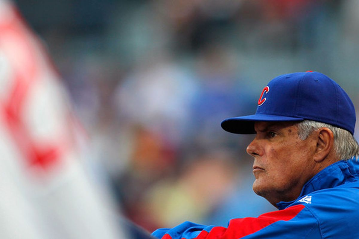 ATLANTA - APRIL 07:  Manager Lou Piniella #41 of the Chicago Cubs watches from the dugout during the game against the Atlanta Braves at Turner Field on April 7, 2010 in Atlanta, Georgia.  (Photo by Kevin C. Cox/Getty Images)