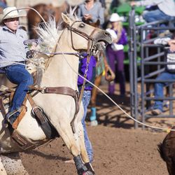 A calf roping contestant competes during the Utah High School Rodeo Finals in Heber City on Saturday, June 3, 2017.