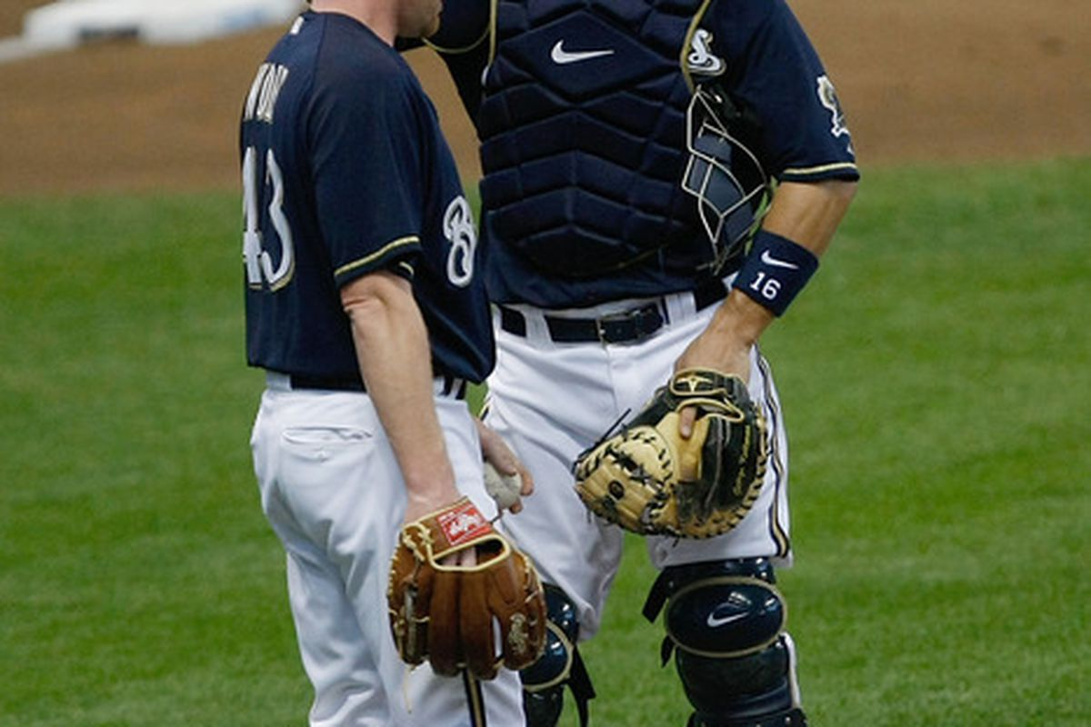 """George Kottaras gets a headache thinking about the concept of """"personal catchers,"""" just like we do."""