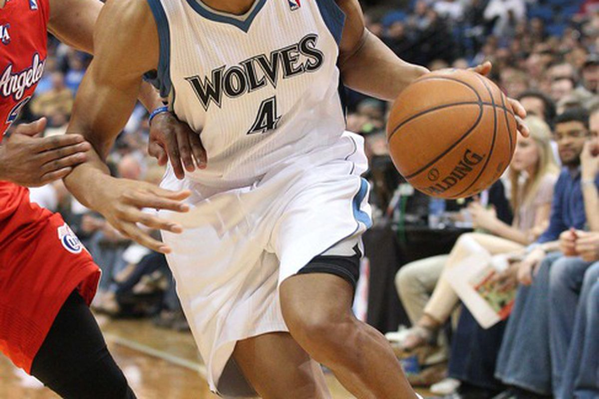 Apr 12, 2012; Minneapolis, MN, USA: Minnesota Timberwolves forward Wesley Johnson (4) drives to the basket in the second half against the Los Angeles Clippers at Target Center. The Clippers won 95-82. Mandatory Credit: Jesse Johnson-US PRESSWIRE