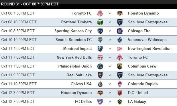 MLS Fantasy 2014 Round 31 Schedule