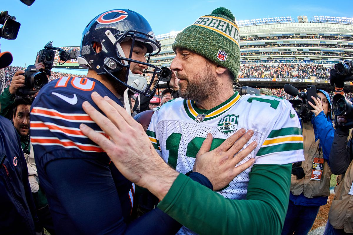 Green Bay Packers quarterback Aaron Rodgers congratulates Chicago Bears quarterback Mitchell Trubisky after game action during an NFL game between the Green Bay Packers and the Chicago Bears on December 16, 2018 at Soldier Field in Chicago, IL.