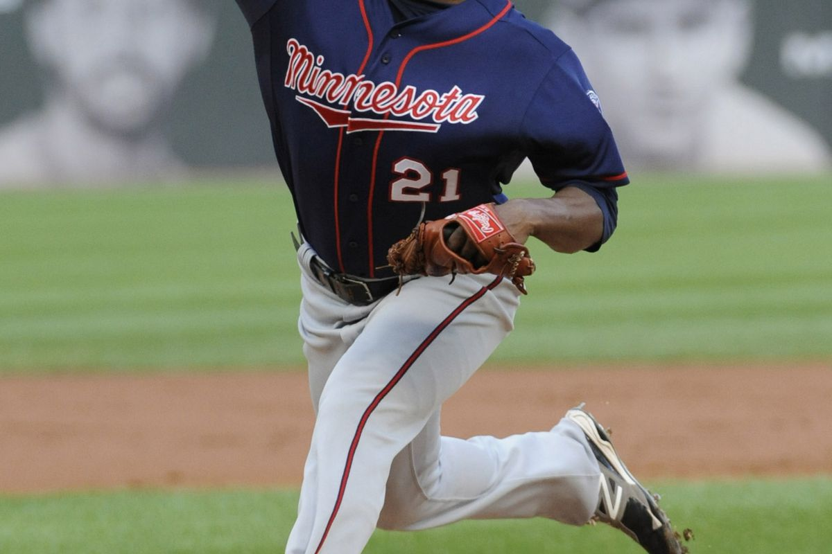 September 03, 2012; Chicago, IL, USA;  Minnesota Twins starting pitcher Samuel Deduno (21) pitches against the Chicago White Sox in the first inning at U.S. Cellular Field. Mandatory Credit: David Banks-US PRESSWIRE