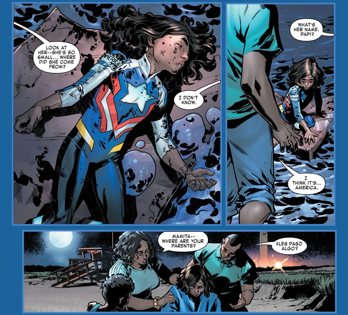 Javier and Ceci Santana rescue a young America Chavez from a floating piece of debris, in America Chavez: Made in the USA #1, Marvel Comics (2021).