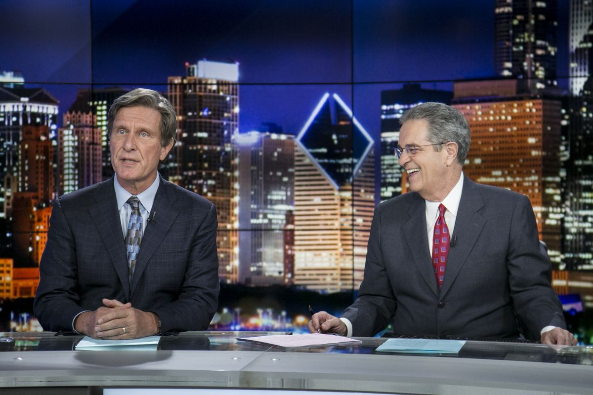 Paul Meincke (left) at ABC7 for anchor Ron Magers last broadcast on May 25, 2016. | Ashlee Rezin/Sun-Times