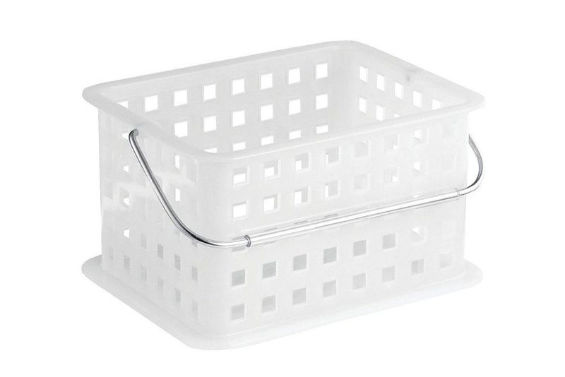 Translucent storage basket with holes and a handle.