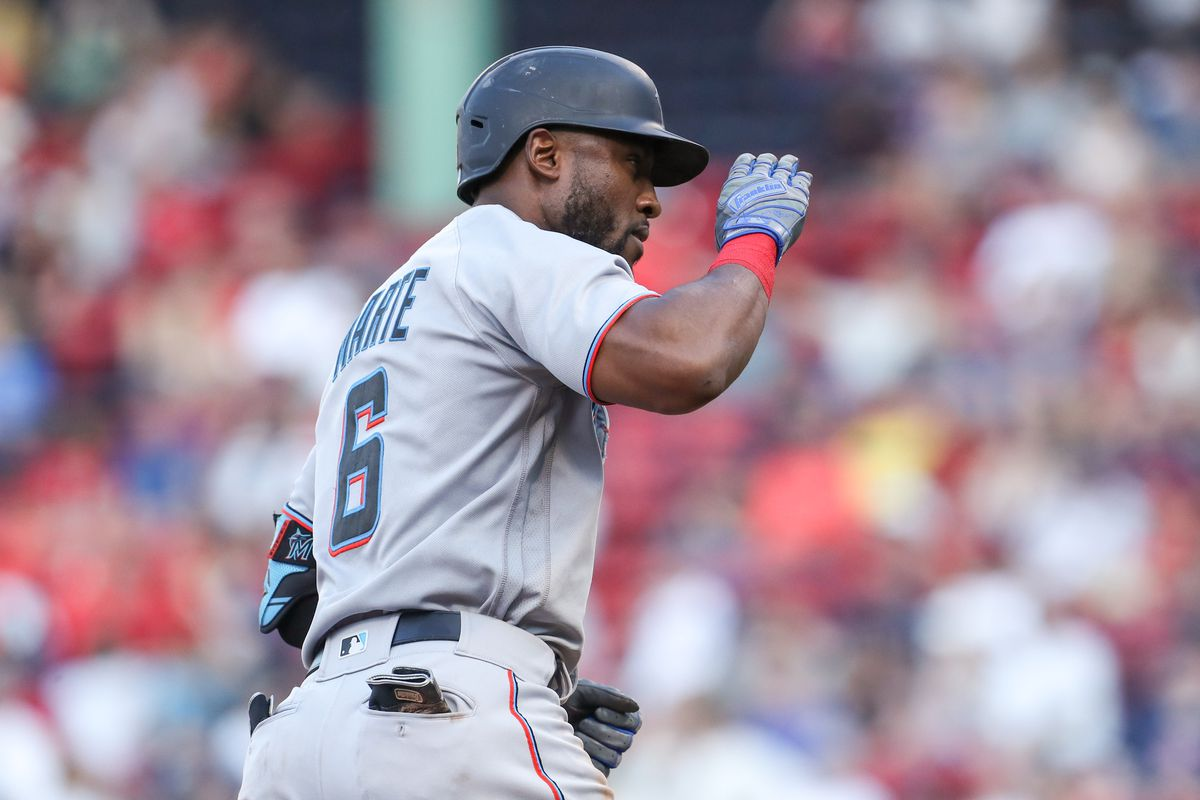 Miami Marlins center fielder Starling Marte (6) reacts after hitting a home run during the fifth inning against the Boston Red Sox at Fenway Park.