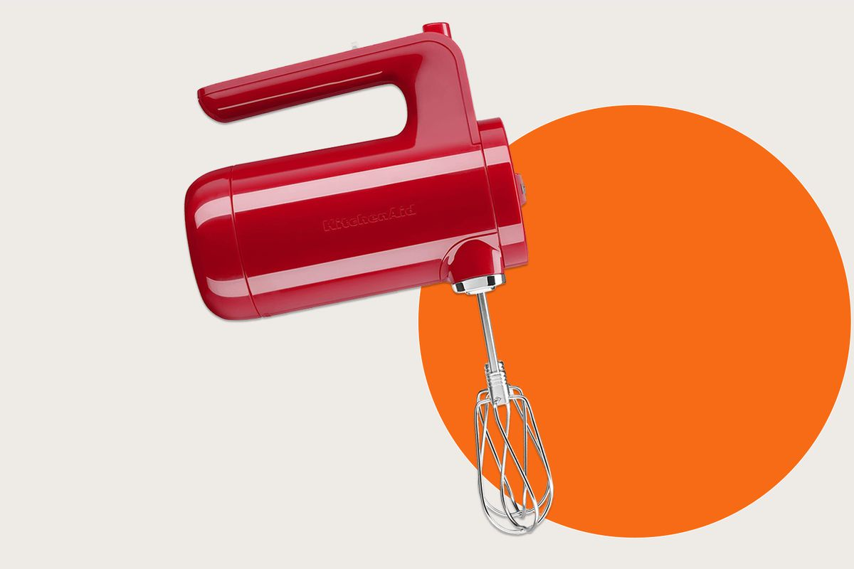 A KitchenAid hand mixer