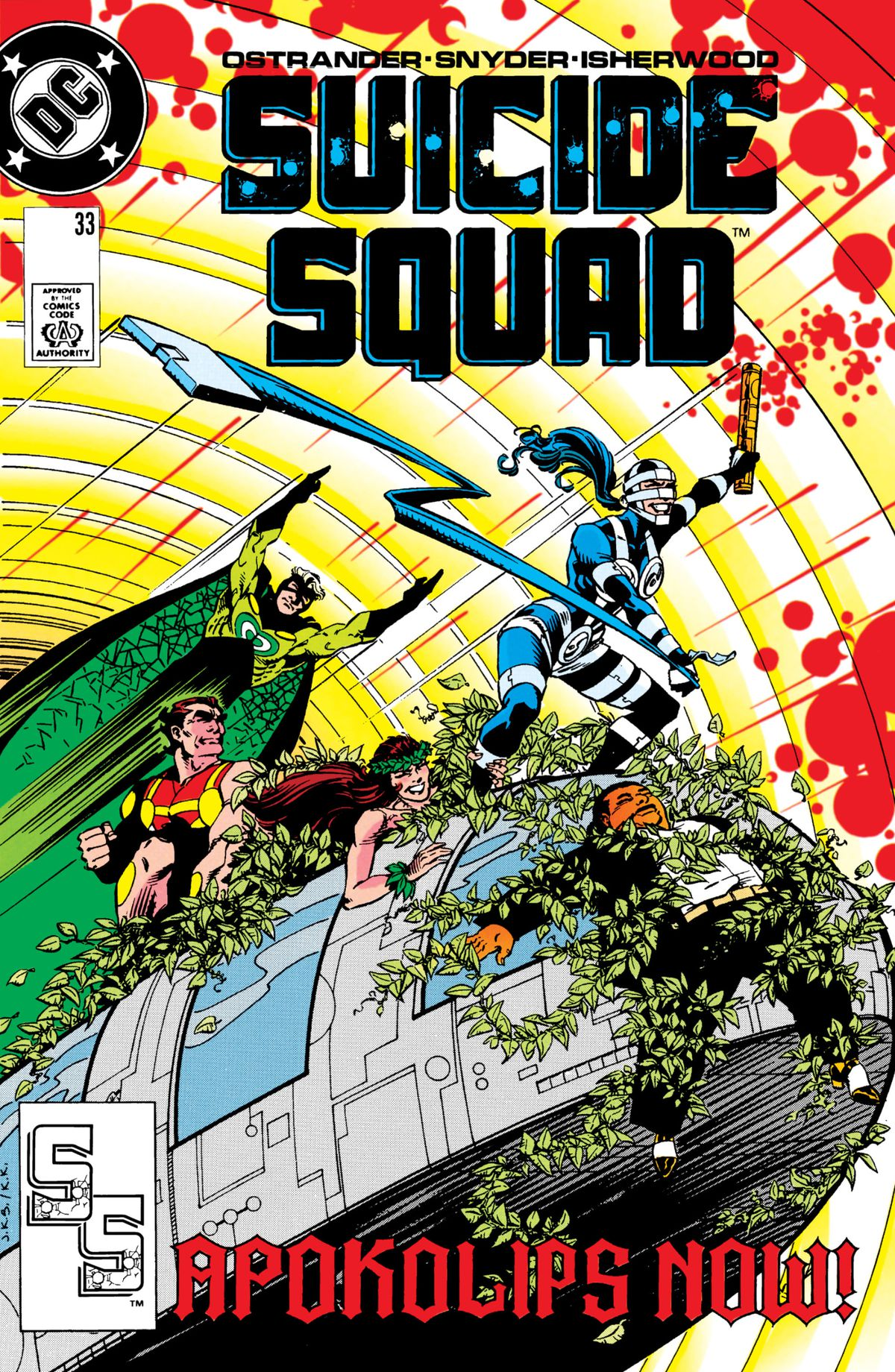 Members of the Suicide Squad and the Female Furies ride a vehicle through a boom tube with Amanda Waller lashed to the front grill on the cover of Suicide Squad #33, DC Comics (1989).