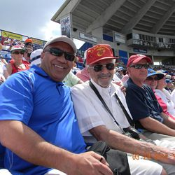 Vai Sikahema with Marty Klein at a Mets spring training game in Port St. Lucie, Fla., where the Kleins live.  Klein and Sikahema were home teaching companions in 1976-77 and haven't seen each other in 35 years.