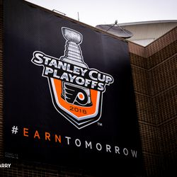 Earn Tomorrow- Flyers Playoff promotional ads placed around the exterior of the Wells Fargo Center facing 95