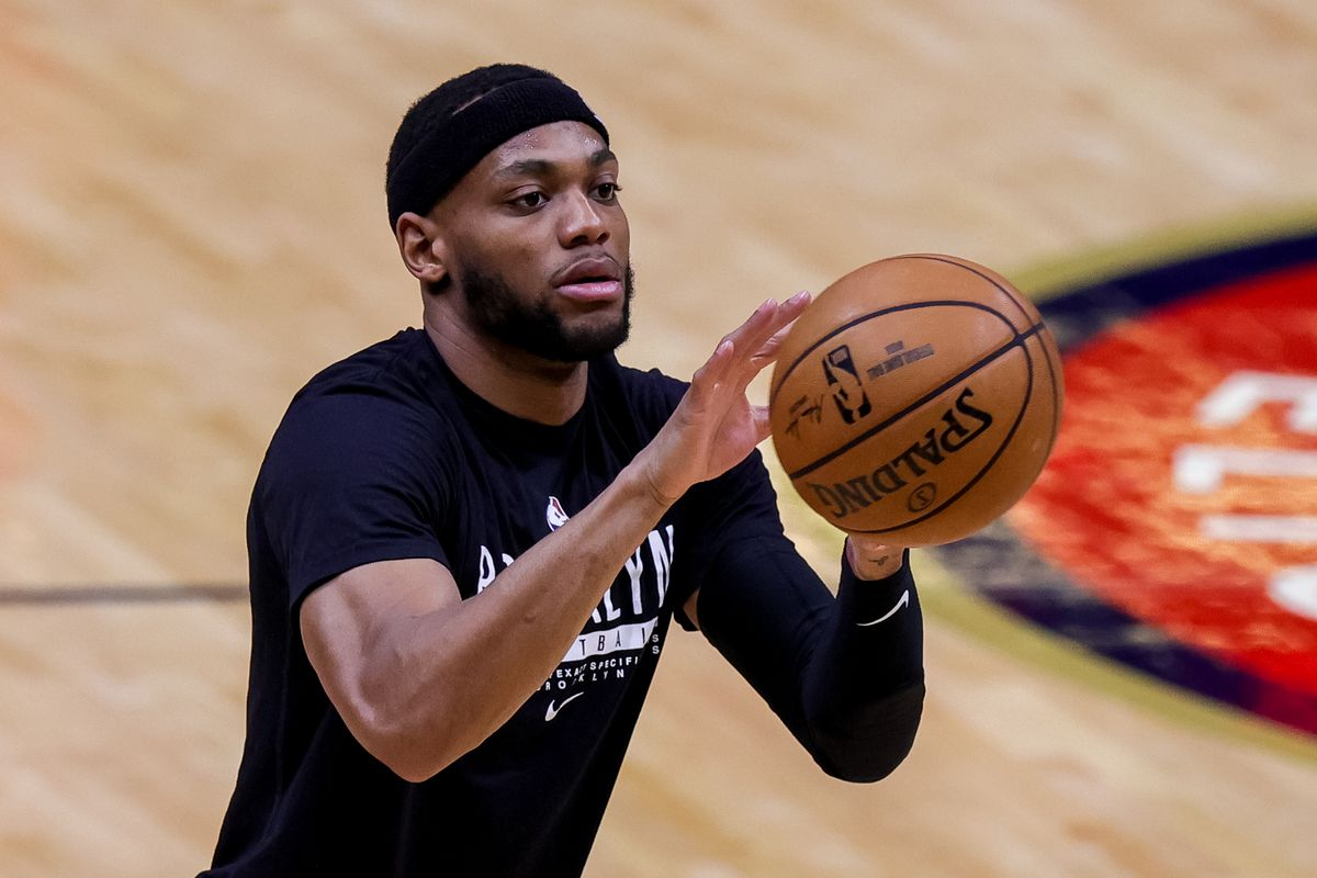 Brooklyn Nets forward Bruce Brown during warms ups before the game against New Orleans Pelicans at the Smoothie King Center.