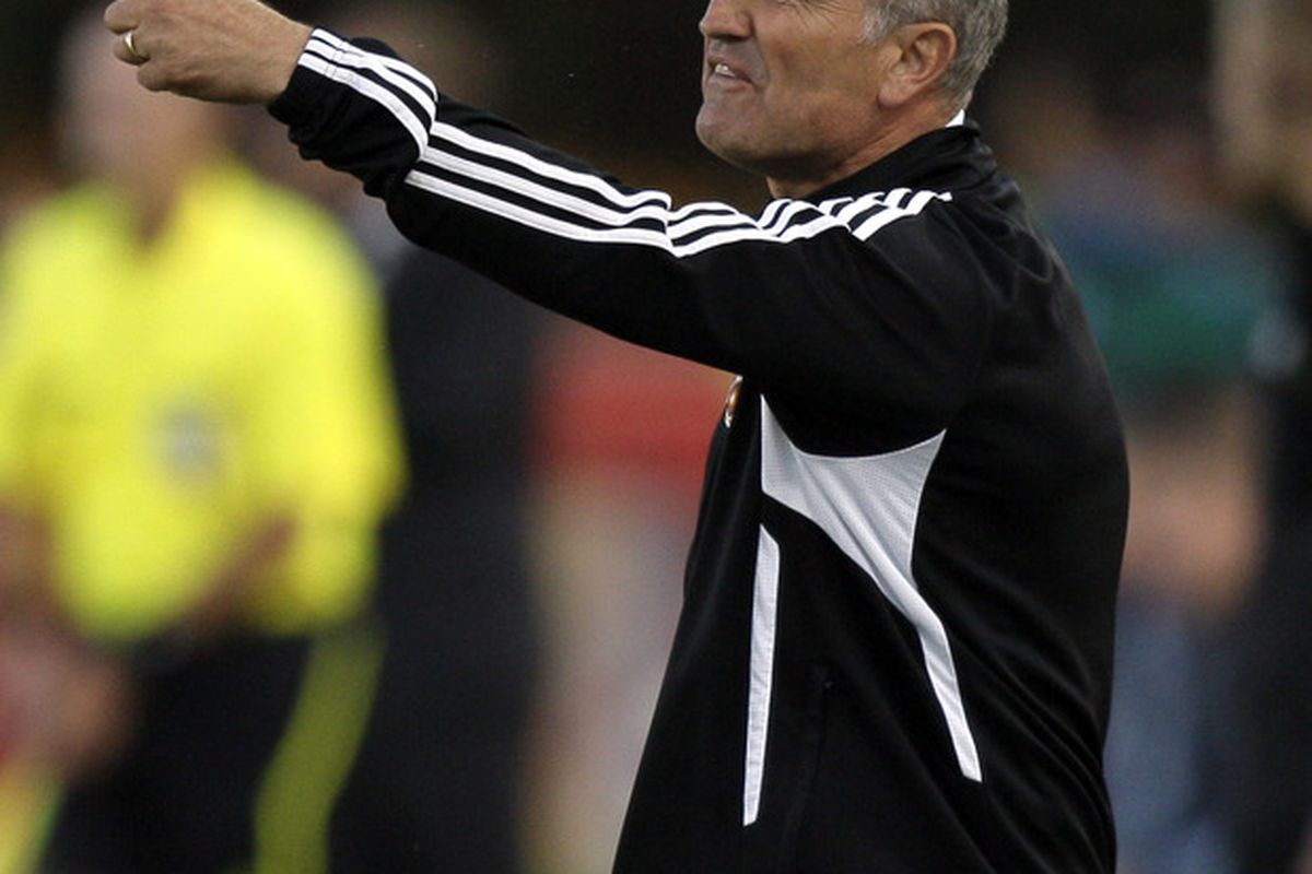 HOUSTON - MAY 04:  Dynamo head coach Dominic Kinnear yells at the referee in the first half during a soccer game against the Colorado Rapids at Robertson Stadium on May 4, 2011 in Houston, Texas.  (Photo by Bob Levey/Getty Images)