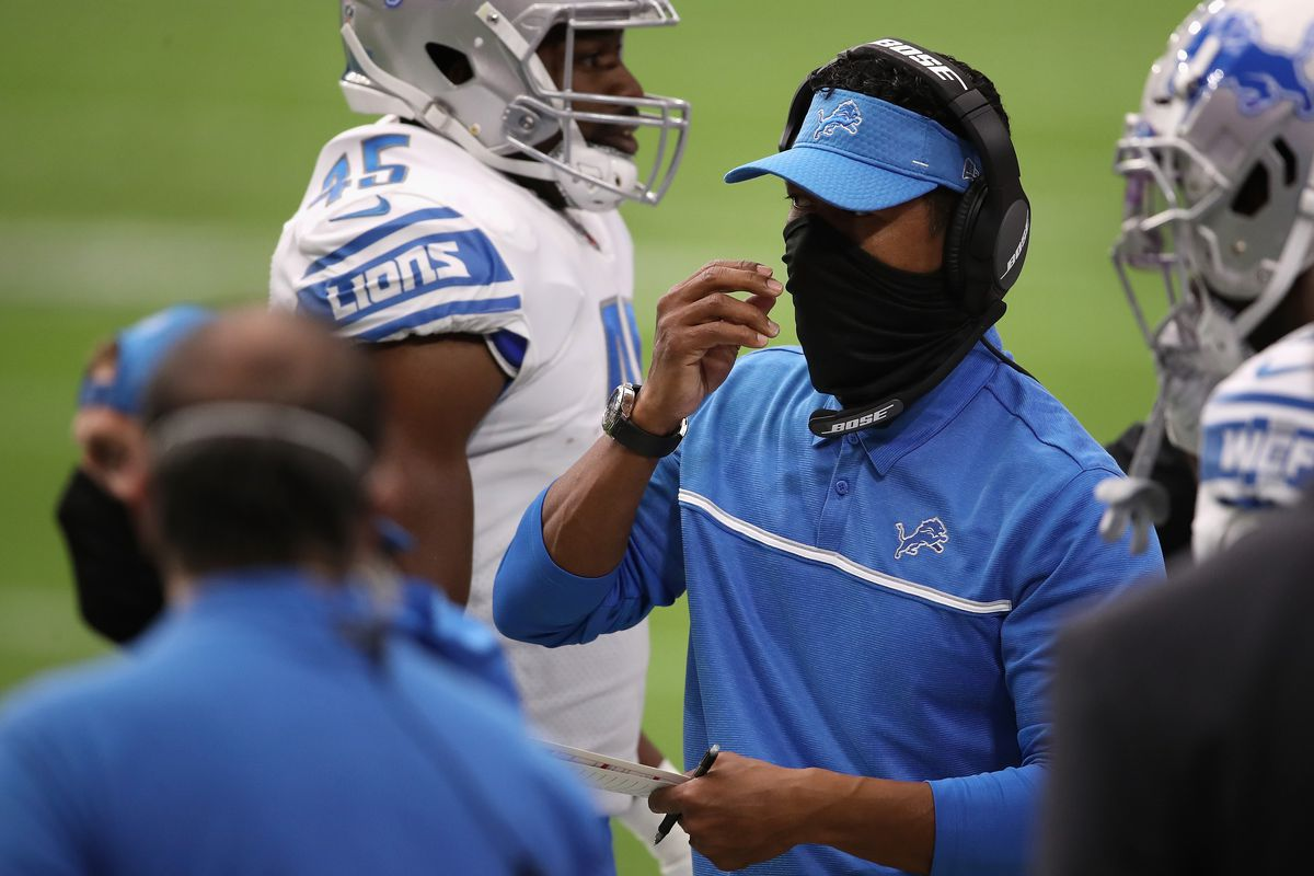 Wide receivers coach Robert Prince of the Detroit Lions in the NFL game against the Arizona Cardinals at State Farm Stadium on September 27, 2020 in Glendale, Arizona.