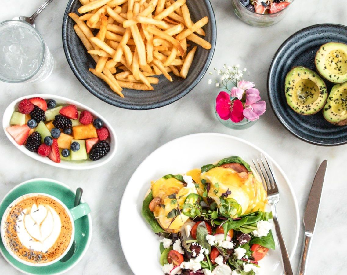 eggs, avocados, and fries