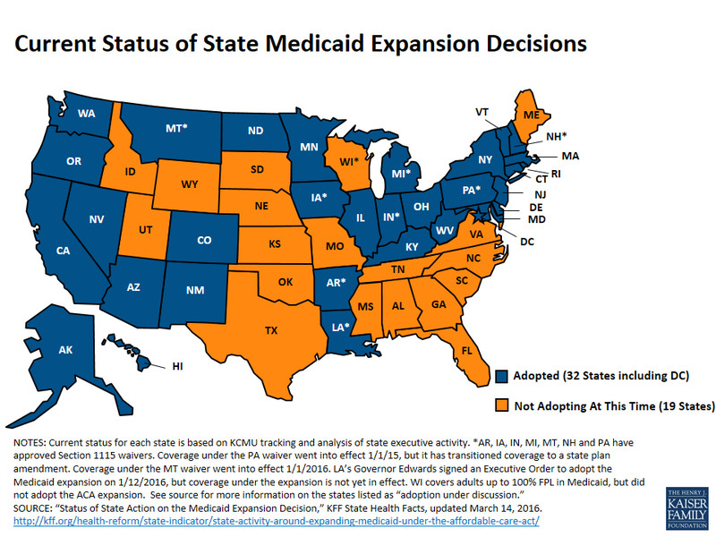 a map of the states that have and haven t done the medicaid expansion