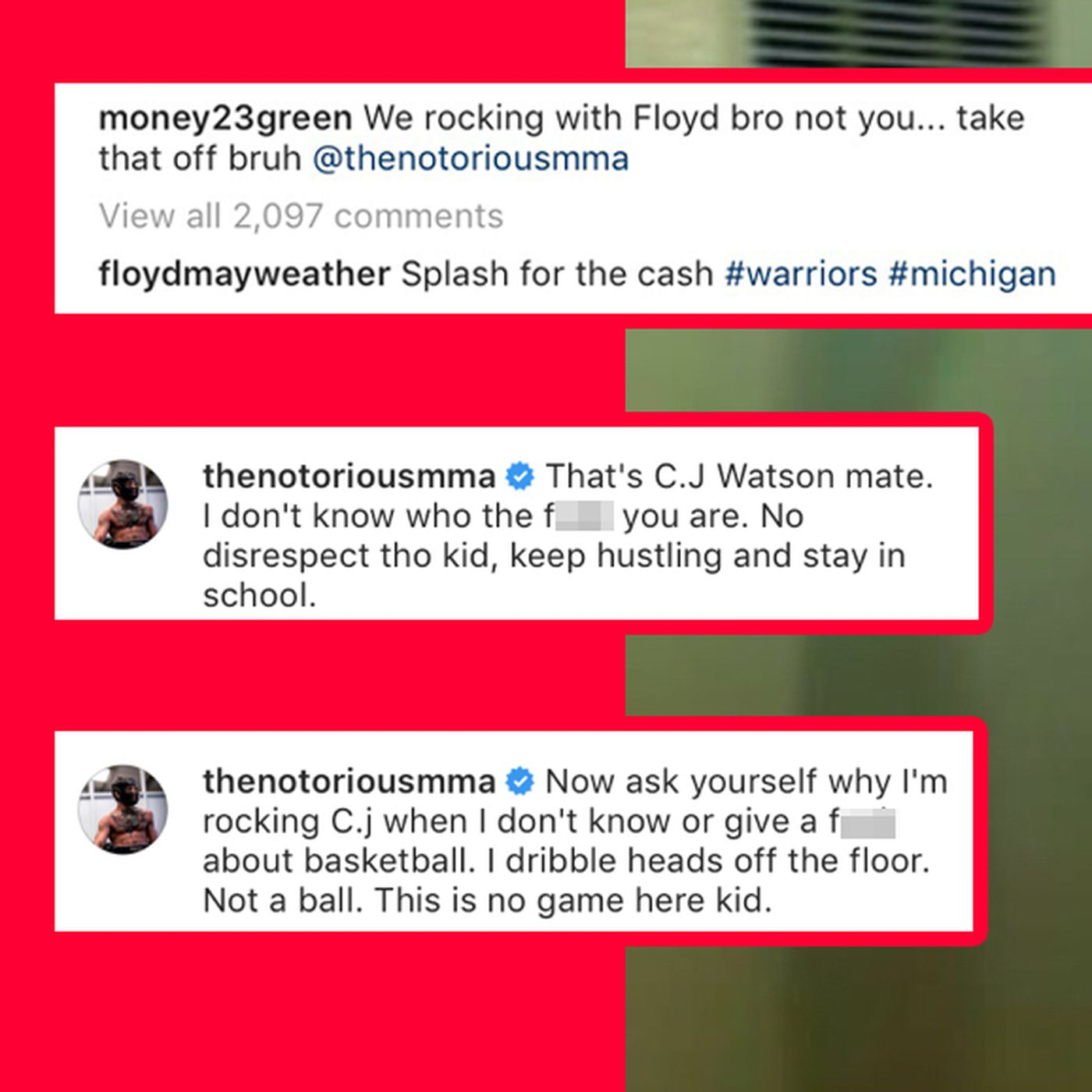 the latest 8a3bf eb181 Conor McGregor and Draymond Green squabbled on Instagram ...
