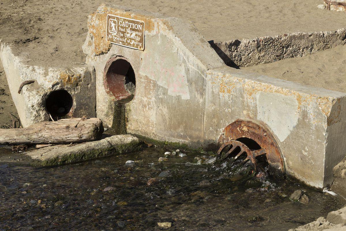 Old drains on a beach seawall.