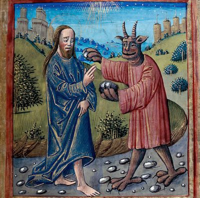 The devil giving a saint some sweet stones