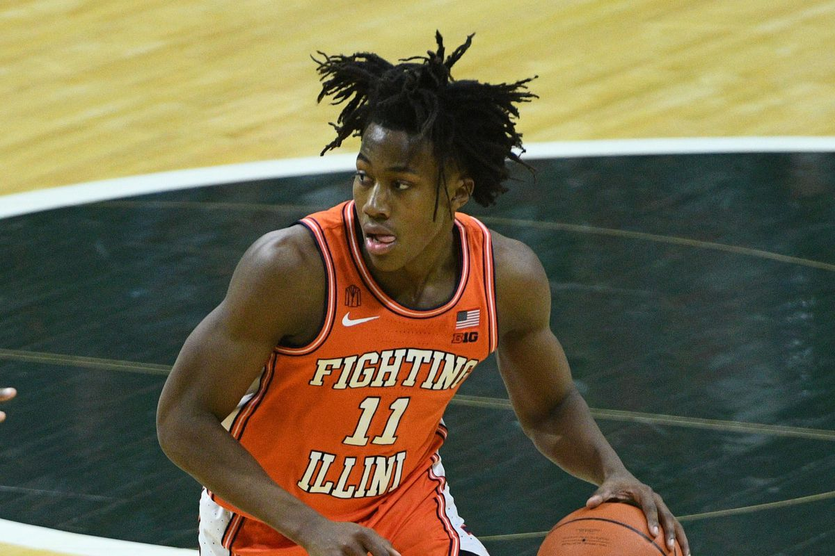Illinois Fighting Illini guard Ayo Dosunmu brings the ball up court during the first half against the Michigan State Spartans at Jack Breslin Student Events Center.