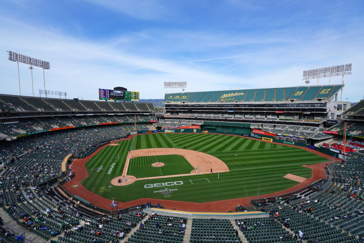 A general view of RingCentral Coliseum during the game between the Oakland Athletics and the Houston Astros at RingCentral Coliseum on April 04, 2021 in Oakland, California.