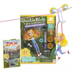 """GoldieBlox is zip lining down to save your daughters from the world of princesses! The <b>Goldie Blox Action Figure</b> teaches young girls how to build Goldie a 13"""" zipline – teaching the basic engineering principle of suspension. The action figure doll"""