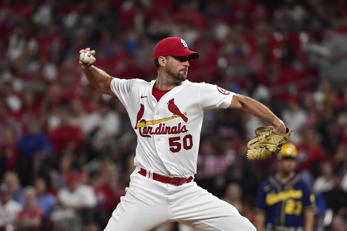 St. Louis Cardinals starting pitcher Adam Wainwright (50) pitches during the fourth inning against the Milwaukee Brewers at Busch Stadium.